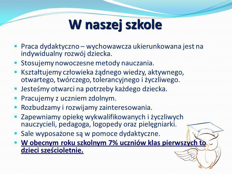 Zajęcia pozalekcyjne: Koło muzyczne Kolorowe nutki; Koło ortograficzne Ortofrajda; Koło teatralne Bajeczka.