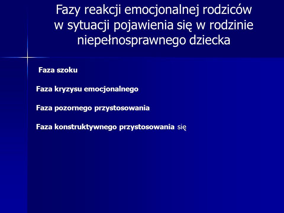 Fazy reakcji emocjonalnej rodziców w sytuacji pojawienia się w rodzinie niepełnosprawnego dziecka Faza szoku Faza kryzysu emocjonalnego Faza pozornego
