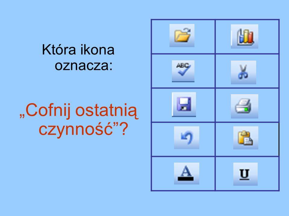 Która ikona oznacza: Cofnij ostatnią czynność?