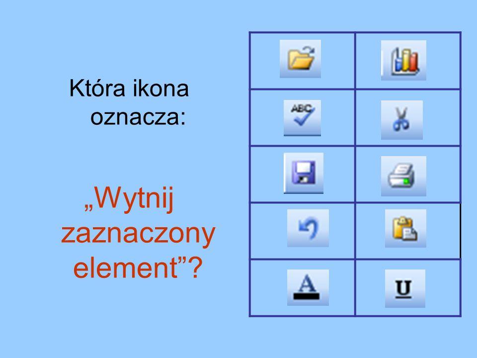 Która ikona oznacza: Wytnij zaznaczony element?