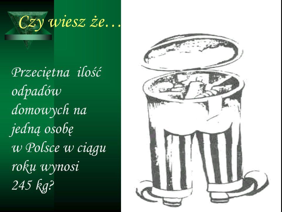 Przeciętna ilość odpadów domowych na jedną osobę w Polsce w ciągu roku wynosi 245 kg?