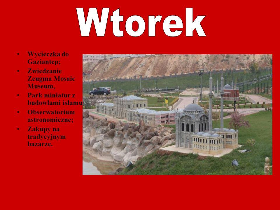 Wycieczka do Gaziantep; Zwiedzanie Zeugma Mosaic Museum, Park miniatur z budowlami islamu; Obserwatorium astronomiczne; Zakupy na tradycyjnym bazarze.