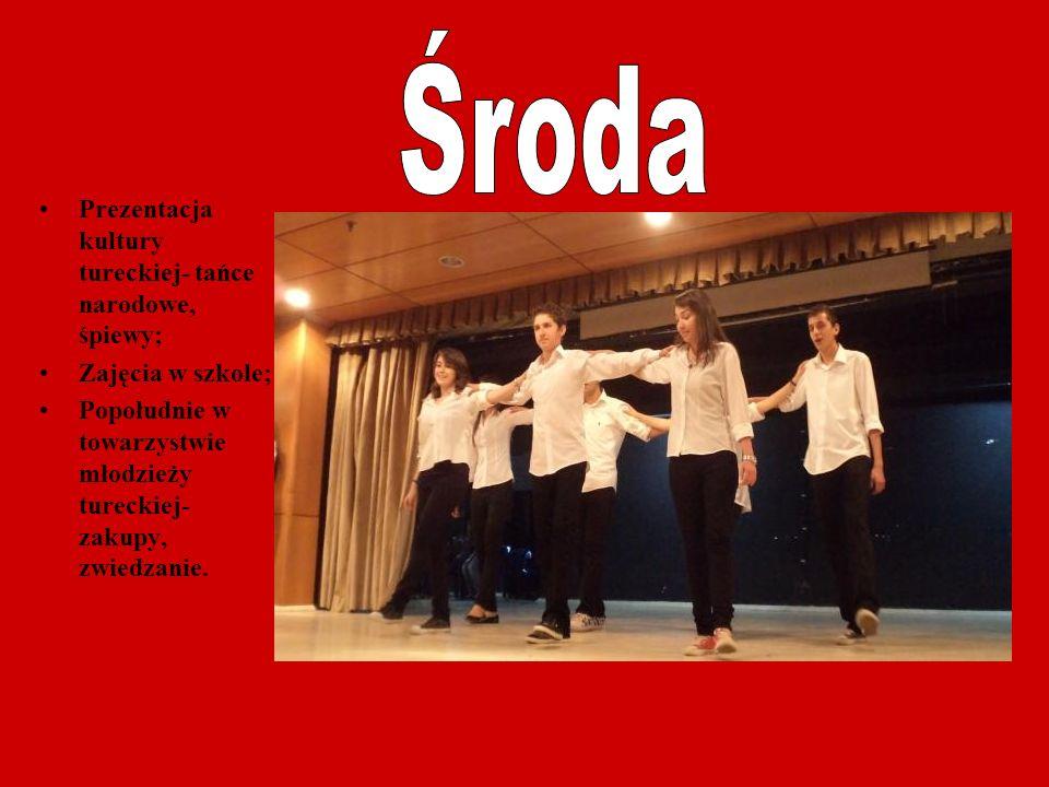 Prezentacja kultury tureckiej- tańce narodowe, śpiewy; Zajęcia w szkole; Popołudnie w towarzystwie młodzieży tureckiej- zakupy, zwiedzanie.