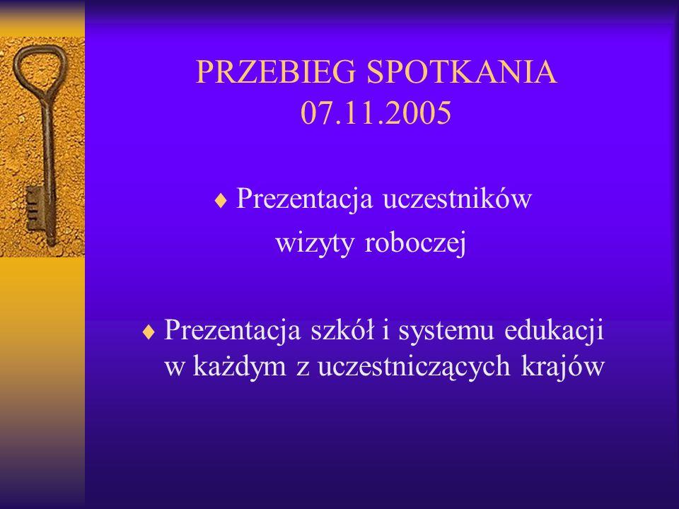 PRZEBIEG SPOTKANIA 07.11.2005 Prezentacja uczestników wizyty roboczej Prezentacja szkół i systemu edukacji w każdym z uczestniczących krajów