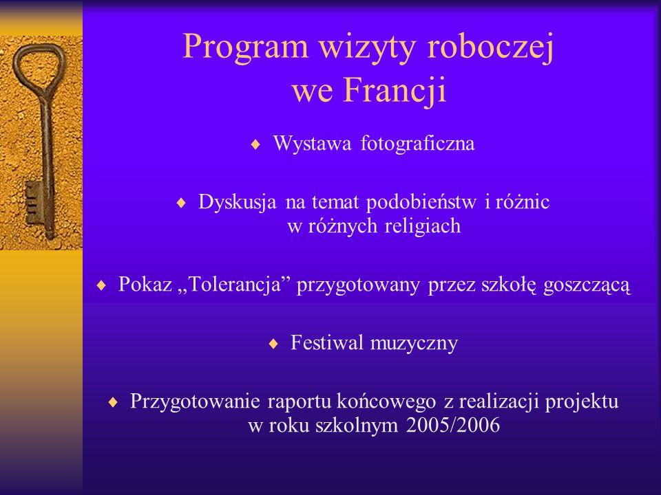 Program wizyty roboczej we Francji Wystawa fotograficzna Dyskusja na temat podobieństw i różnic w różnych religiach Pokaz Tolerancja przygotowany przez szkołę goszczącą Festiwal muzyczny Przygotowanie raportu końcowego z realizacji projektu w roku szkolnym 2005/2006