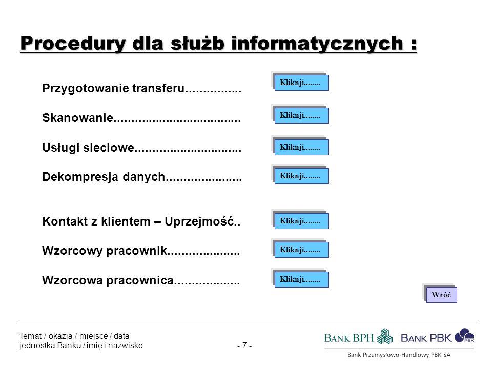 - 7 - Temat / okazja / miejsce / data jednostka Banku / imię i nazwisko Procedury dla służb informatycznych : Przygotowanie transferu................