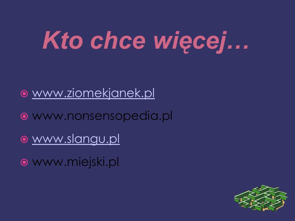 Kto chce więcej… www.ziomekjanek.pl www.nonsensopedia.pl www.slangu.pl www.miejski.pl