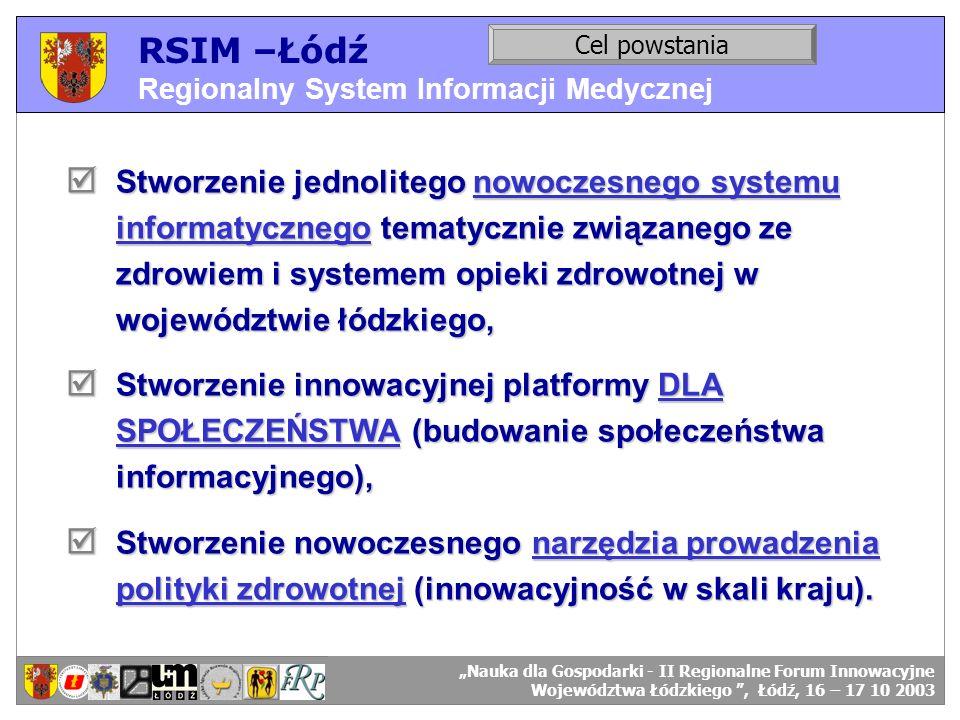 RSIM –Łódź Regionalny System Informacji Medycznej Stworzenie jednolitego nowoczesnego systemu informatycznego tematycznie związanego ze zdrowiem i sys