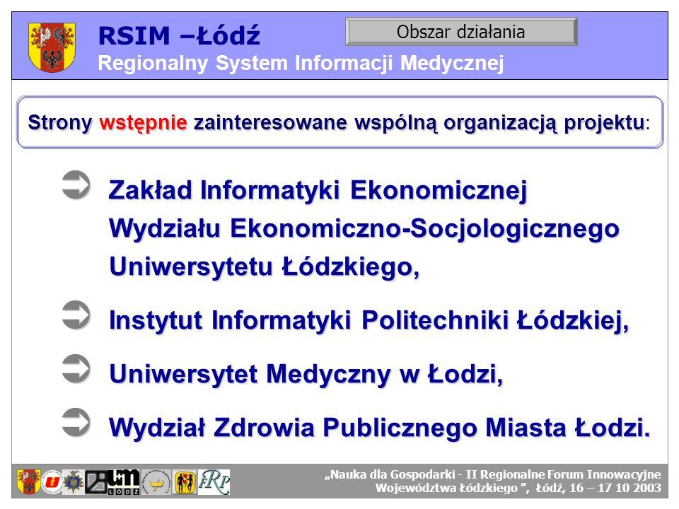 RSIM –Łódź Regionalny System Informacji Medycznej RSIM-ŁÓDŹ – organizacja działania. Obszar działania RSIM-ŁÓDŹ – odbiorcy danych. Strony wstępnie zai