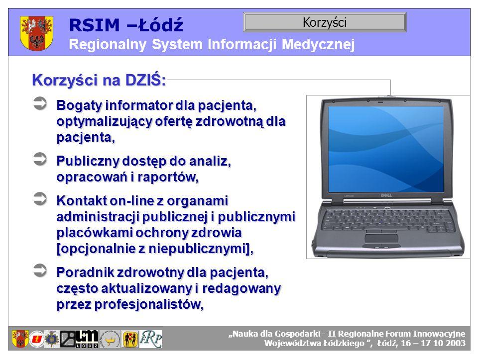 RSIM –Łódź Regionalny System Informacji Medycznej RSIM-ŁÓDŹ – organizacja działania. Korzyści RSIM-ŁÓDŹ – odbiorcy danych. Korzyści na DZIŚ: Bogaty in