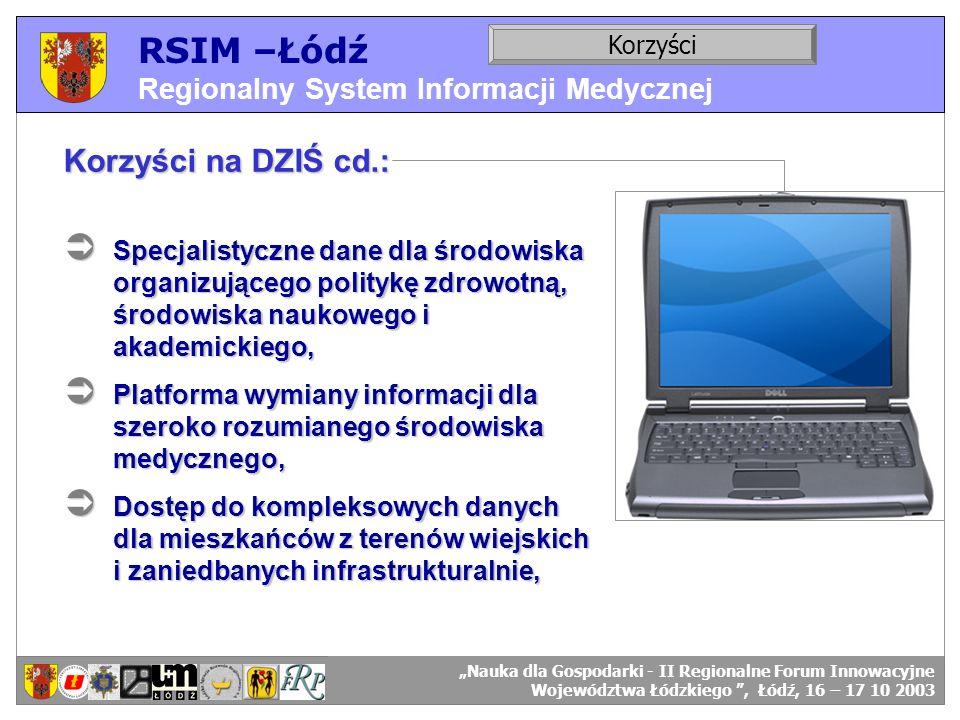 RSIM –Łódź Regionalny System Informacji Medycznej RSIM-ŁÓDŹ – organizacja działania. Korzyści RSIM-ŁÓDŹ – odbiorcy danych. Korzyści na DZIŚ cd.: Specj