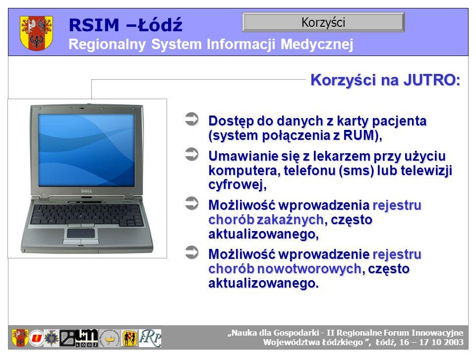 RSIM –Łódź Regionalny System Informacji Medycznej RSIM-ŁÓDŹ – organizacja działania. Korzyści RSIM-ŁÓDŹ – odbiorcy danych. Korzyści na JUTRO: Dostęp d