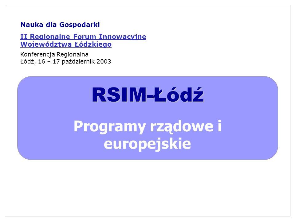 RSIM-Łódź Programy rządowe i europejskie Nauka dla Gospodarki II Regionalne Forum Innowacyjne Województwa Łódzkiego Konferencja Regionalna Łódź, 16 –
