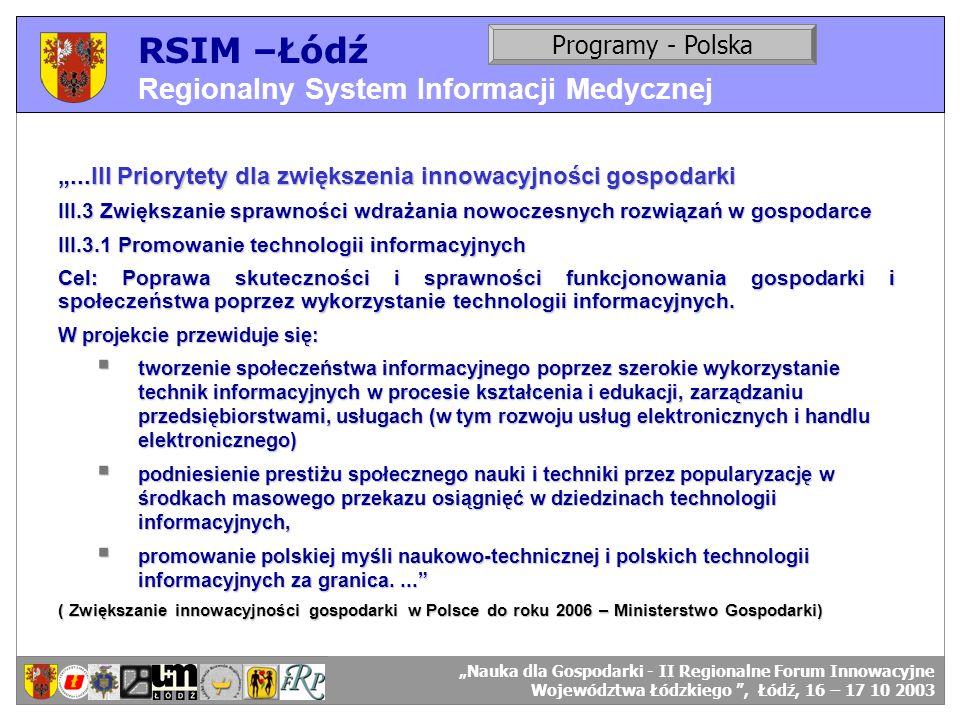 RSIM –Łódź Regionalny System Informacji Medycznej RSIM-ŁÓDŹ – organizacja działania. Programy - Polska RSIM-ŁÓDŹ – odbiorcy danych....III Priorytety d
