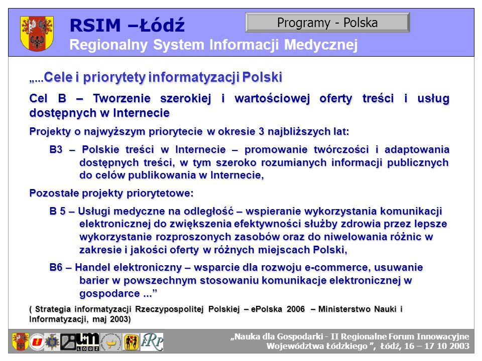 RSIM –Łódź Regionalny System Informacji Medycznej RSIM-ŁÓDŹ – organizacja działania. Programy - Polska RSIM-ŁÓDŹ – odbiorcy danych.... Cele i prioryte
