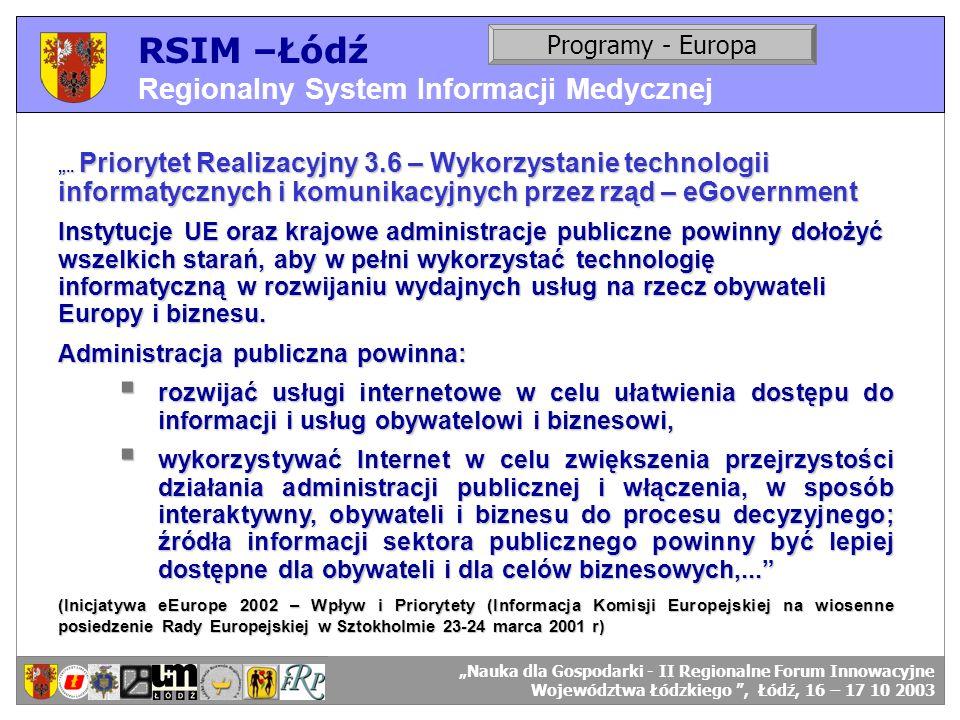 RSIM –Łódź Regionalny System Informacji Medycznej RSIM-ŁÓDŹ – organizacja działania. Programy - Europa RSIM-ŁÓDŹ – odbiorcy danych... Priorytet Realiz