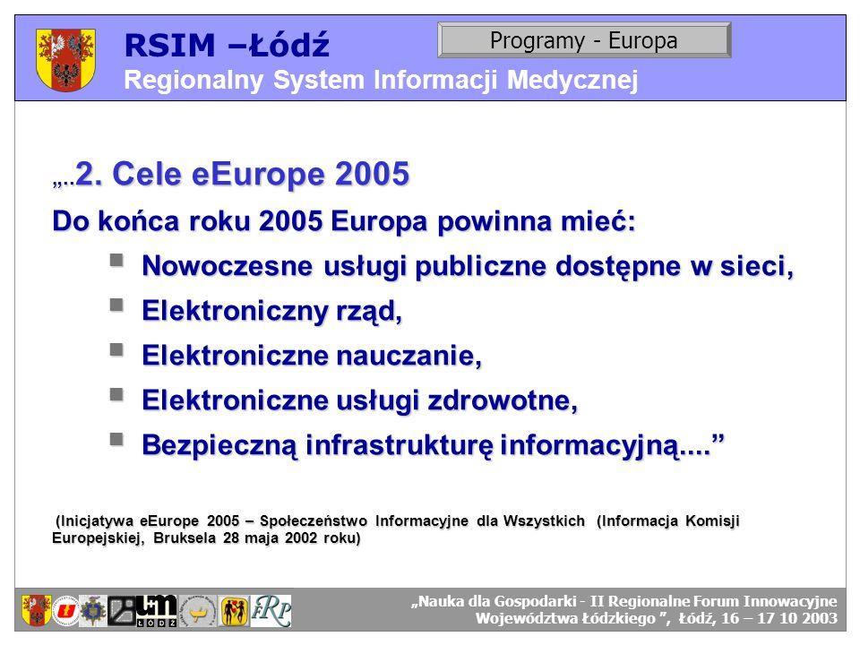 RSIM –Łódź Regionalny System Informacji Medycznej RSIM-ŁÓDŹ – organizacja działania. Programy - Europa RSIM-ŁÓDŹ – odbiorcy danych... 2. Cele eEurope
