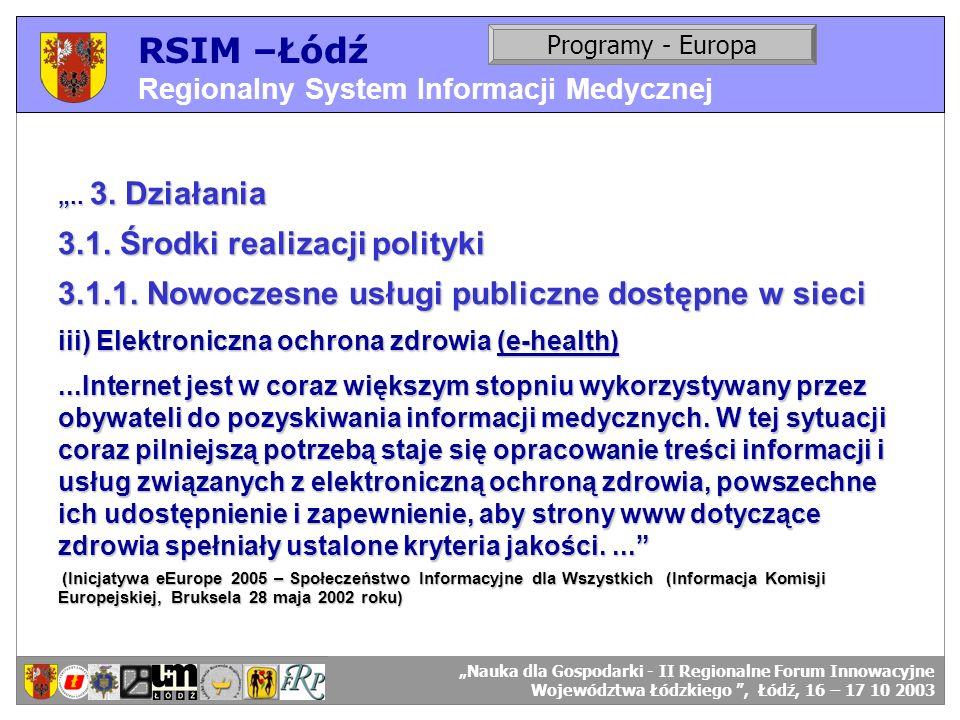 RSIM –Łódź Regionalny System Informacji Medycznej RSIM-ŁÓDŹ – organizacja działania. Programy - Europa RSIM-ŁÓDŹ – odbiorcy danych... 3. Działania 3.1