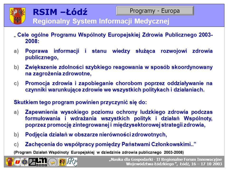 RSIM –Łódź Regionalny System Informacji Medycznej RSIM-ŁÓDŹ – organizacja działania. Programy - Europa RSIM-ŁÓDŹ – odbiorcy danych. Cele ogólne Progra