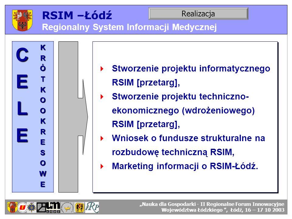 RSIM –Łódź Regionalny System Informacji Medycznej RSIM-ŁÓDŹ – organizacja działania. Realizacja RSIM-ŁÓDŹ – odbiorcy danych.CELEKRÓTKOOKRESOWE Stworze