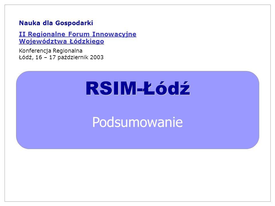 RSIM-Łódź Podsumowanie Nauka dla Gospodarki II Regionalne Forum Innowacyjne Województwa Łódzkiego Konferencja Regionalna Łódź, 16 – 17 październik 200
