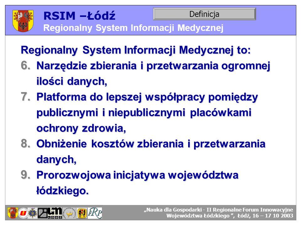 RSIM –Łódź Regionalny System Informacji Medycznej Definicja Regionalny System Informacji Medycznej to: 6. Narzędzie zbierania i przetwarzania ogromnej