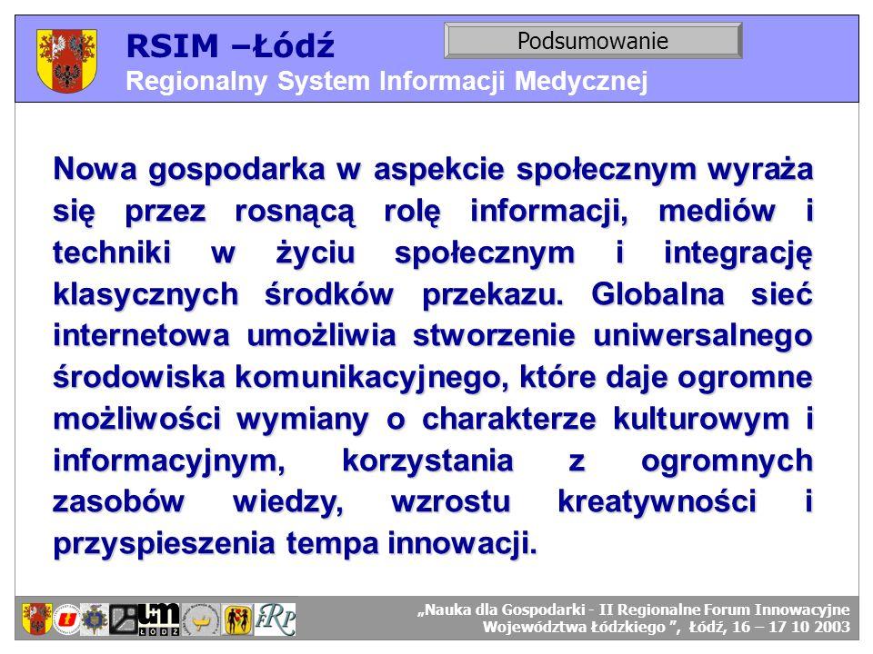 RSIM –Łódź Regionalny System Informacji Medycznej RSIM-ŁÓDŹ – organizacja działania. Podsumowanie RSIM-ŁÓDŹ – odbiorcy danych. Nowa gospodarka w aspek