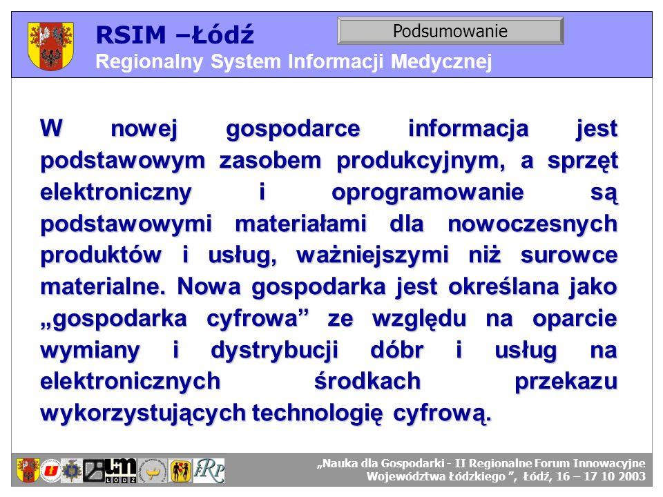 RSIM –Łódź Regionalny System Informacji Medycznej RSIM-ŁÓDŹ – organizacja działania. Podsumowanie RSIM-ŁÓDŹ – odbiorcy danych. W nowej gospodarce info