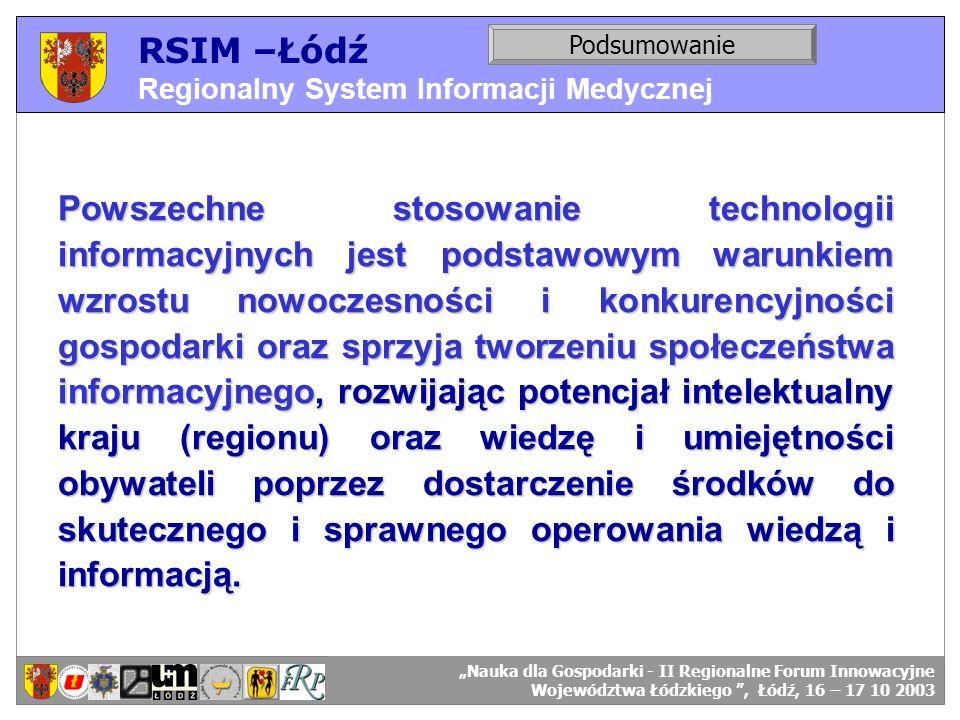 RSIM –Łódź Regionalny System Informacji Medycznej RSIM-ŁÓDŹ – organizacja działania. Podsumowanie RSIM-ŁÓDŹ – odbiorcy danych. Powszechne stosowanie t