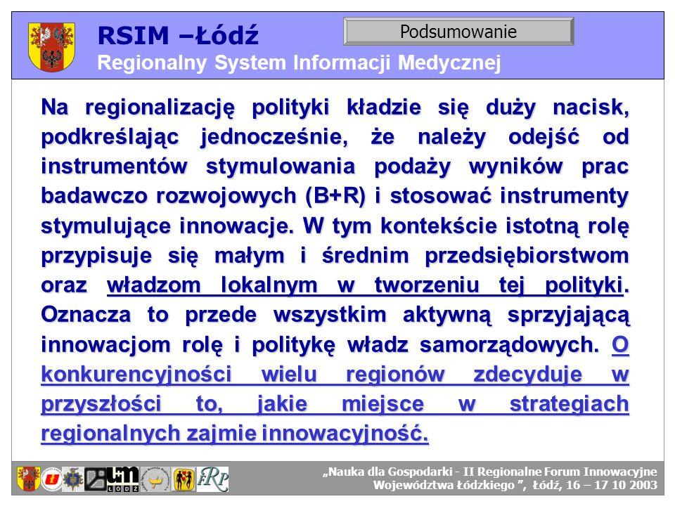 RSIM –Łódź Regionalny System Informacji Medycznej RSIM-ŁÓDŹ – organizacja działania. Podsumowanie RSIM-ŁÓDŹ – odbiorcy danych. Na regionalizację polit