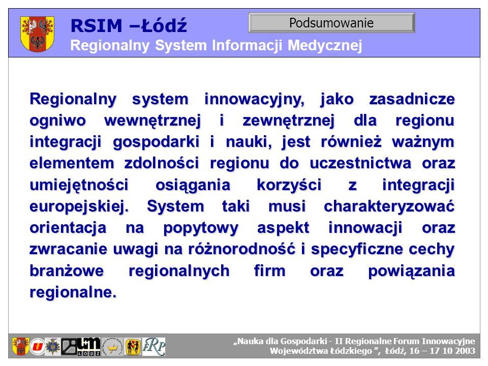 RSIM –Łódź Regionalny System Informacji Medycznej RSIM-ŁÓDŹ – organizacja działania. Podsumowanie RSIM-ŁÓDŹ – odbiorcy danych. Regionalny system innow