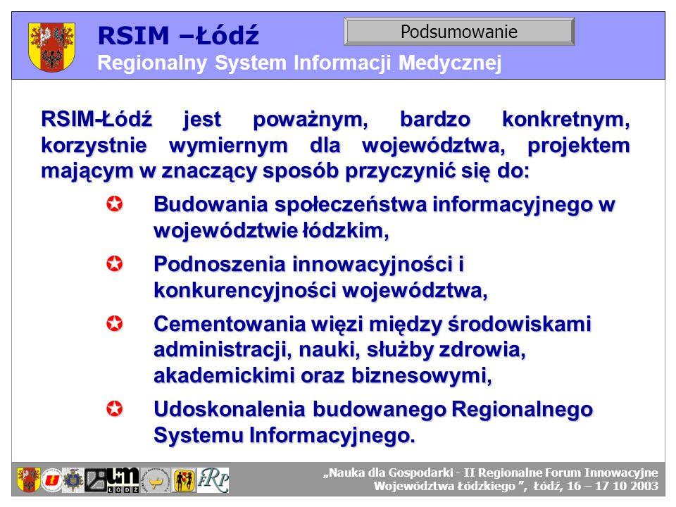 RSIM –Łódź Regionalny System Informacji Medycznej RSIM-ŁÓDŹ – organizacja działania. Podsumowanie RSIM-ŁÓDŹ – odbiorcy danych. RSIM-Łódź jest poważnym