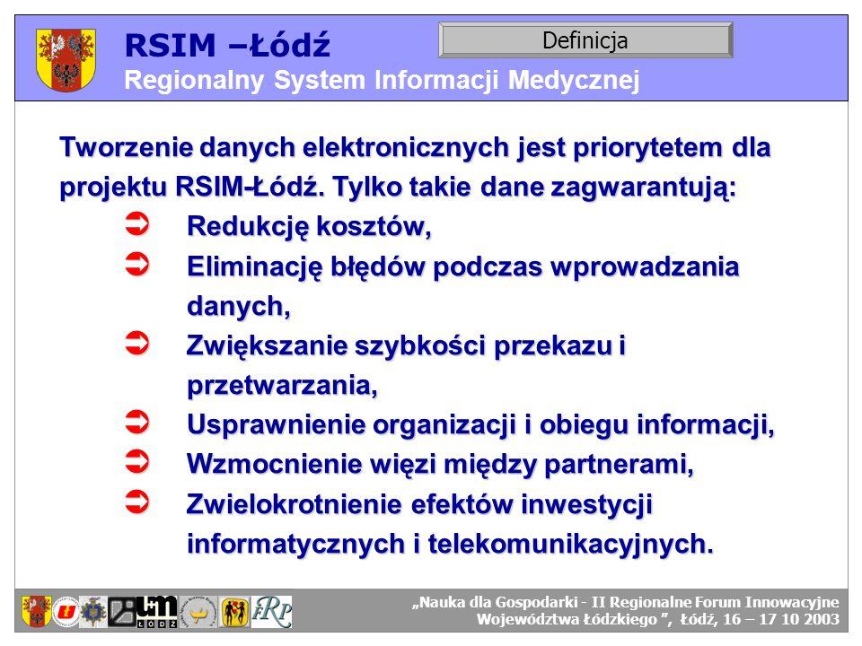 RSIM –Łódź Regionalny System Informacji Medycznej Definicja Tworzenie danych elektronicznych jest priorytetem dla projektu RSIM-Łódź. Tylko takie dane