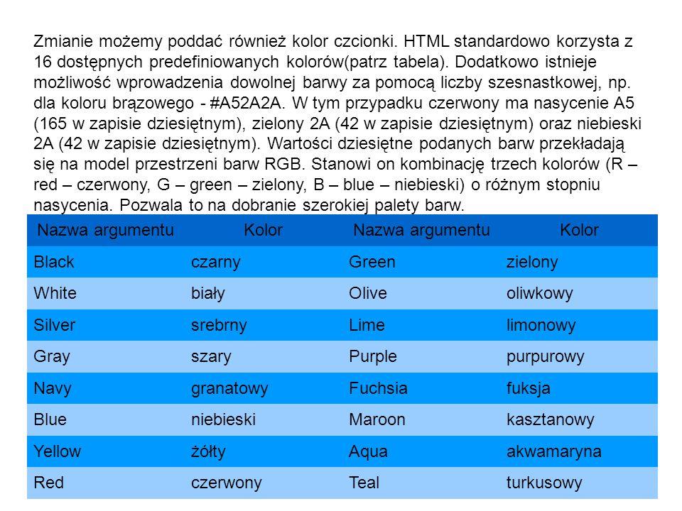 Zmianie możemy poddać również kolor czcionki. HTML standardowo korzysta z 16 dostępnych predefiniowanych kolorów(patrz tabela). Dodatkowo istnieje moż
