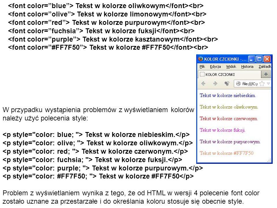Tekst w kolorze oliwkowym Tekst w kolorze limonowym Tekst w kolorze purpurowym Tekst w kolorze fuksji Tekst w kolorze kasztanowym Tekst w kolorze #FF7F50 W przypadku wystąpienia problemów z wyświetlaniem kolorów należy użyć polecenia style: Tekst w kolorze niebieskim.