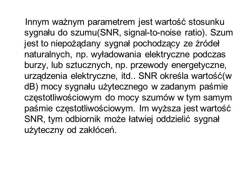 Innym ważnym parametrem jest wartość stosunku sygnału do szumu(SNR, signal-to-noise ratio). Szum jest to niepożądany sygnał pochodzący ze źródeł natur