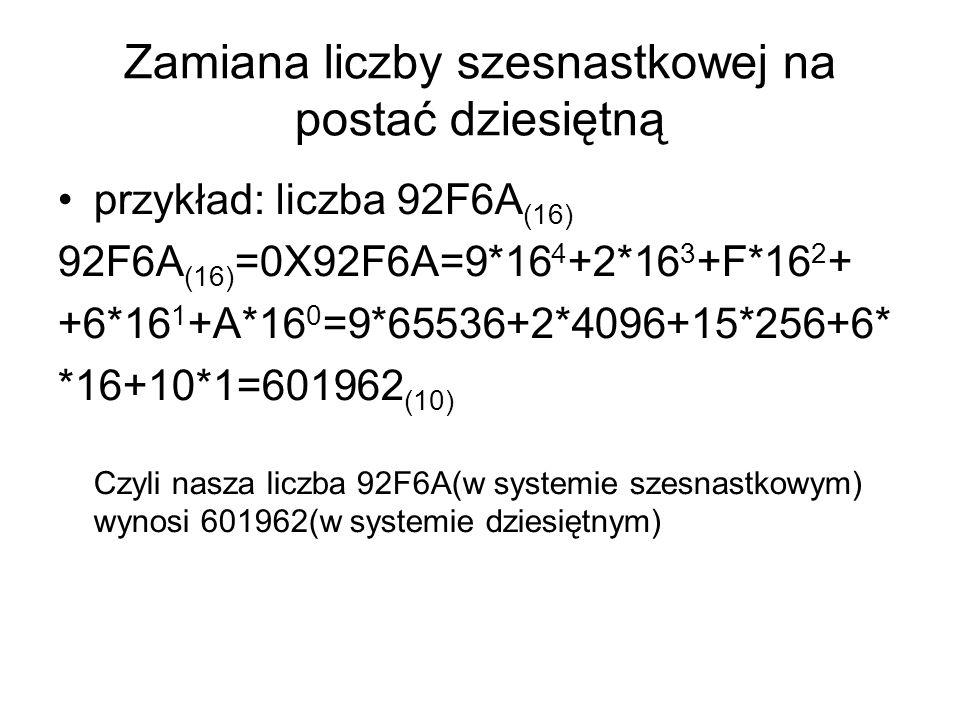 Zamiana liczby szesnastkowej na postać dziesiętną przykład: liczba 92F6A (16) 92F6A (16) =0X92F6A=9*16 4 +2*16 3 +F*16 2 + +6*16 1 +A*16 0 =9*65536+2*