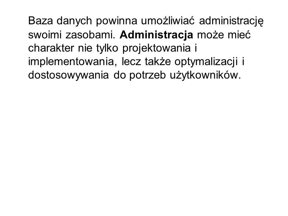 Baza danych powinna umożliwiać administrację swoimi zasobami.