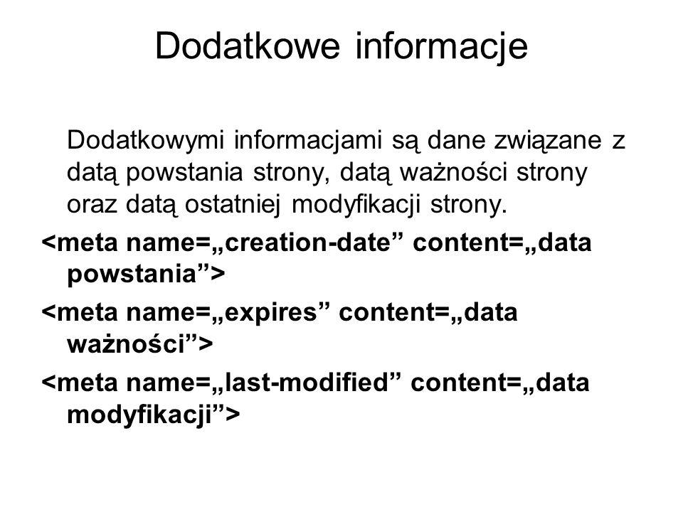 Dodatkowe informacje Dodatkowymi informacjami są dane związane z datą powstania strony, datą ważności strony oraz datą ostatniej modyfikacji strony.