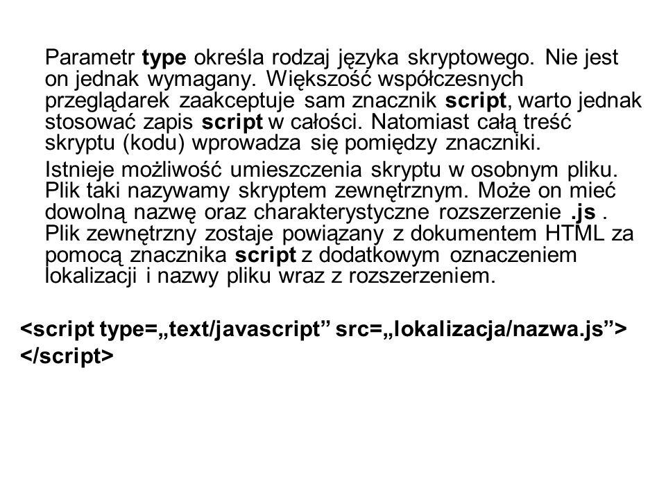 Parametr type określa rodzaj języka skryptowego.Nie jest on jednak wymagany.