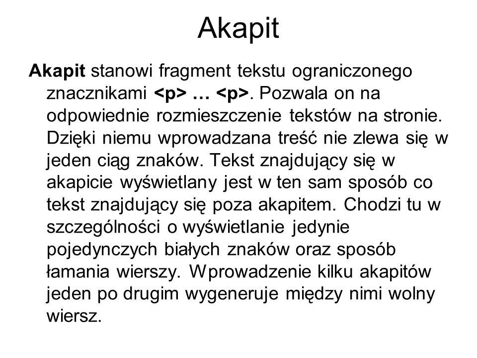 Akapit Dla przykładu, stwórzmy stronę przedstawiającą trzy zdania.
