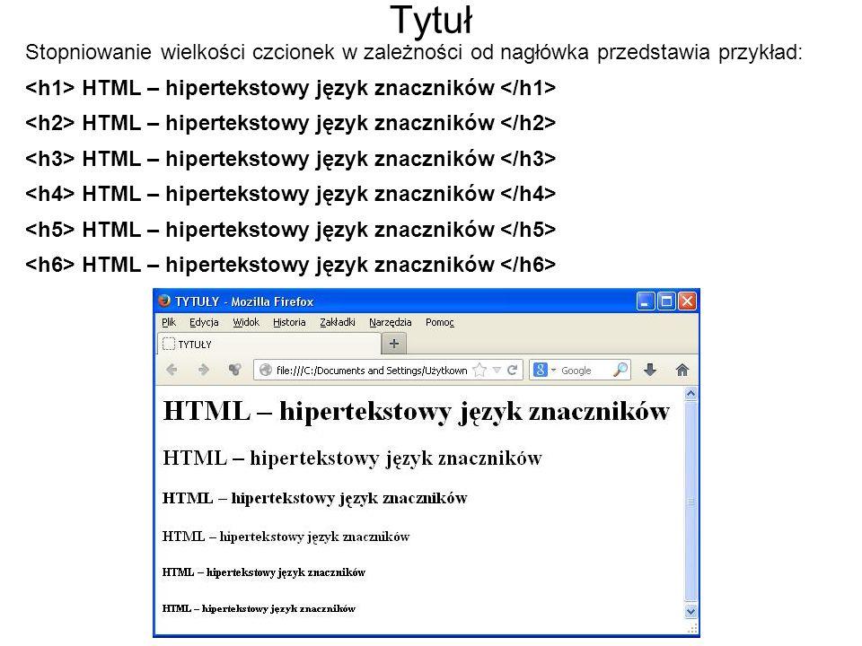 Ćwiczenie Wykonaj stronę internetową na podstawie schematu: NIC DWA RAZY – tytuł h1 Wisława Szymborska – tytuł h3 Nic dwa razy się nie zdarza i nie zdarzy.