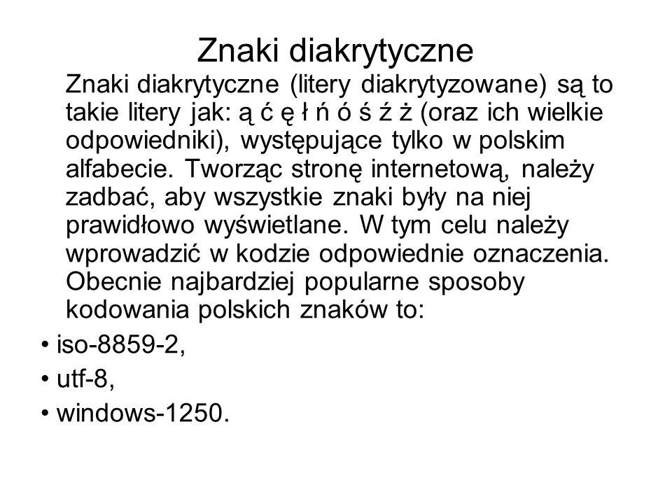 Kodowanie polskich znaków wprowadzane jest przez znacznik meta.