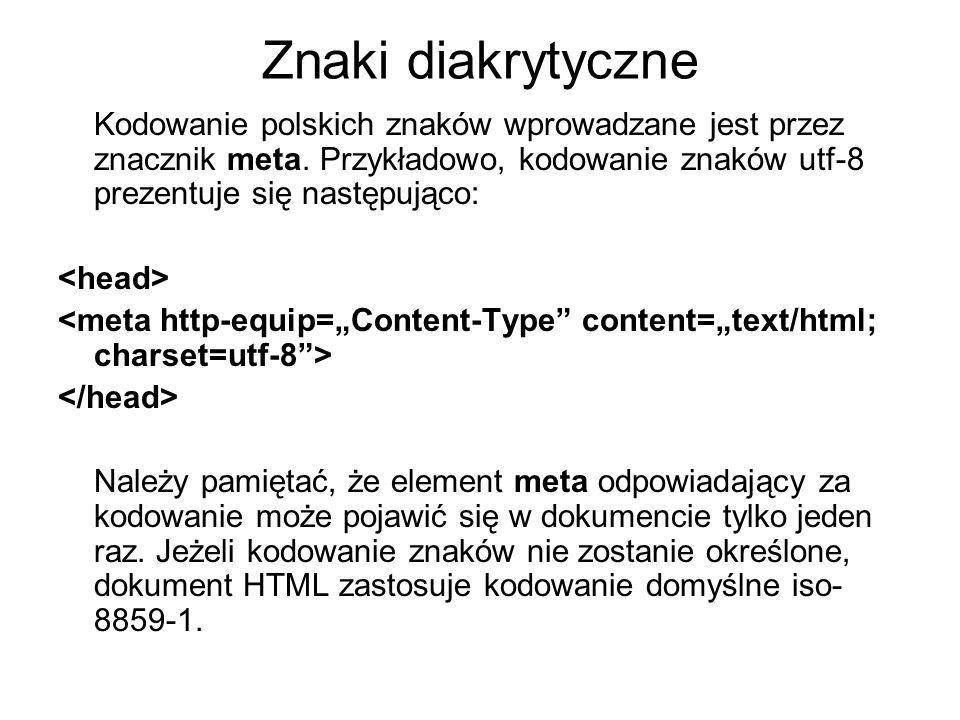 Kodowanie polskich znaków wprowadzane jest przez znacznik meta. Przykładowo, kodowanie znaków utf-8 prezentuje się następująco: Należy pamiętać, że el
