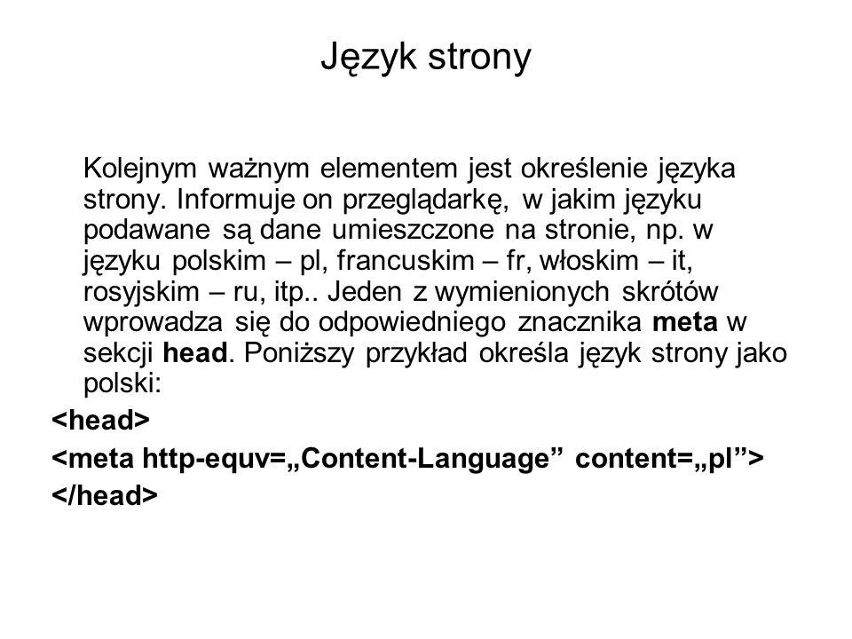 Język strony Kolejnym ważnym elementem jest określenie języka strony. Informuje on przeglądarkę, w jakim języku podawane są dane umieszczone na stroni