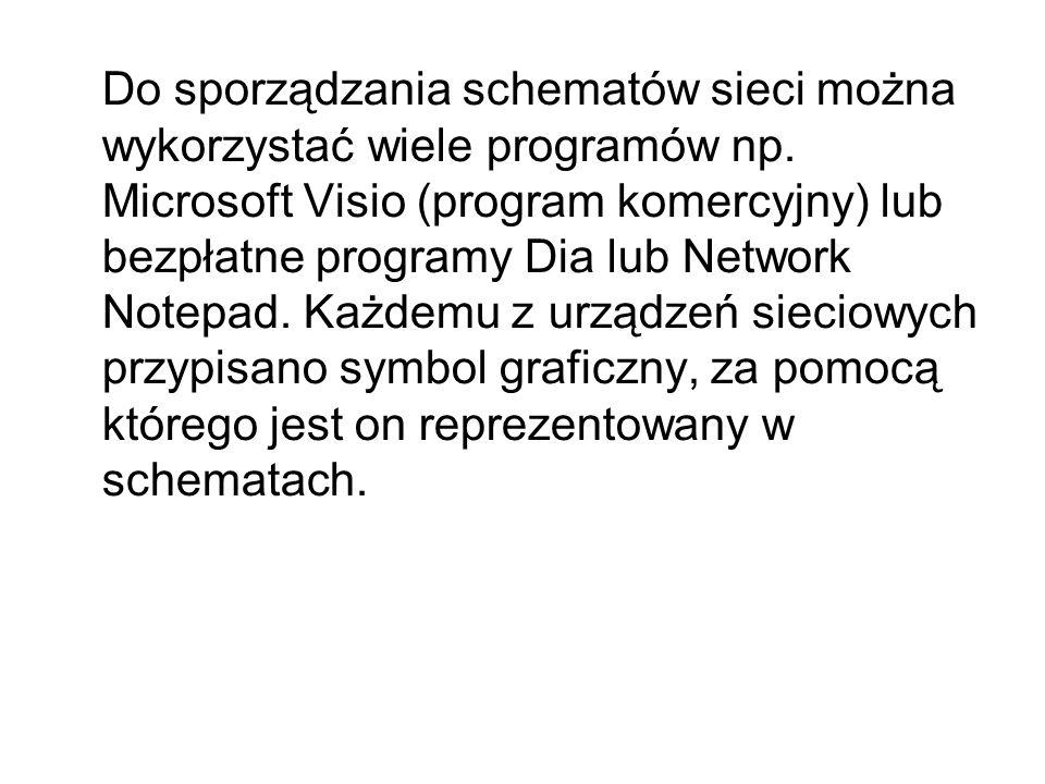 Do sporządzania schematów sieci można wykorzystać wiele programów np. Microsoft Visio (program komercyjny) lub bezpłatne programy Dia lub Network Note