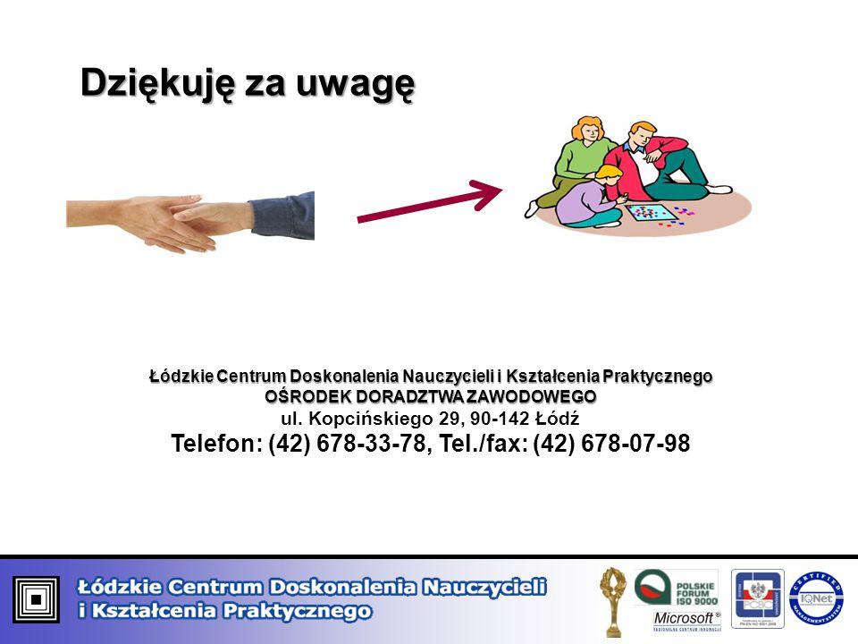 Dziękuję za uwagę Łódzkie Centrum Doskonalenia Nauczycieli i Kształcenia Praktycznego OŚRODEK DORADZTWA ZAWODOWEGO OŚRODEK DORADZTWA ZAWODOWEGO ul.