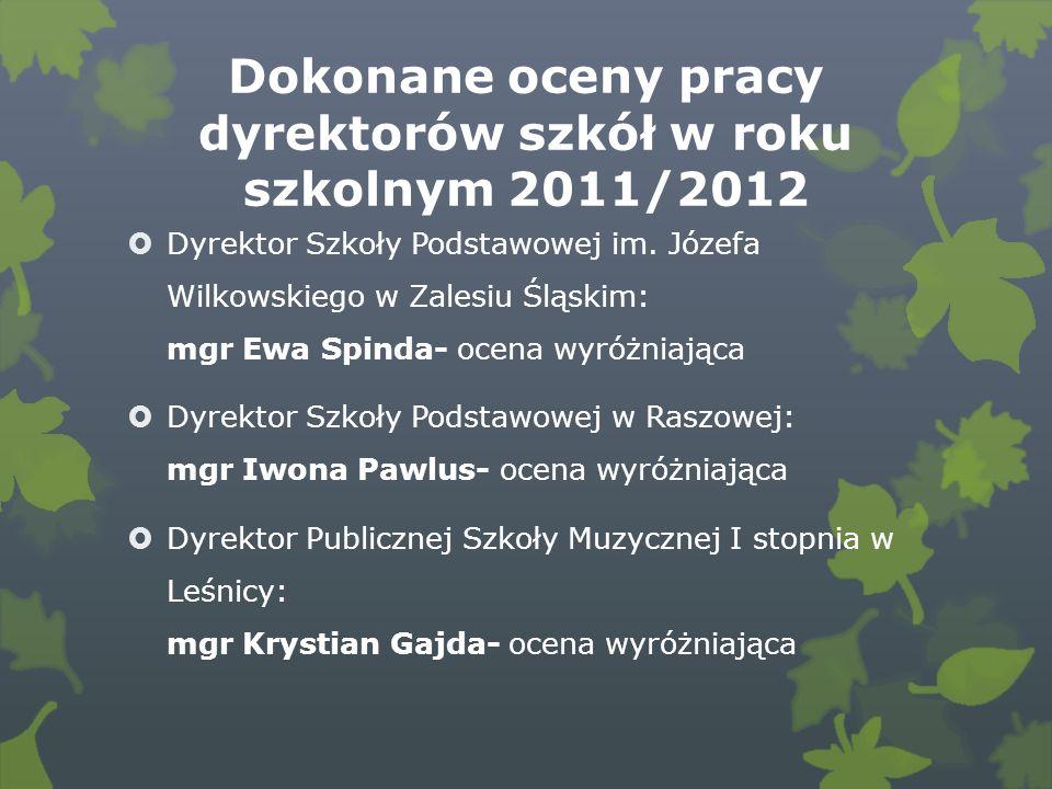 Dokonane oceny pracy dyrektorów szkół w roku szkolnym 2011/2012 Dyrektor Szkoły Podstawowej im.