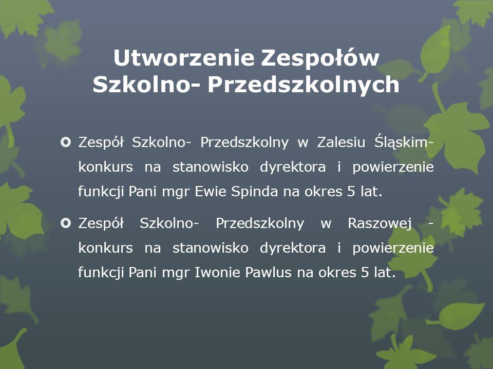 Utworzenie Zespołów Szkolno- Przedszkolnych Zespół Szkolno- Przedszkolny w Zalesiu Śląskim- konkurs na stanowisko dyrektora i powierzenie funkcji Pani mgr Ewie Spinda na okres 5 lat.