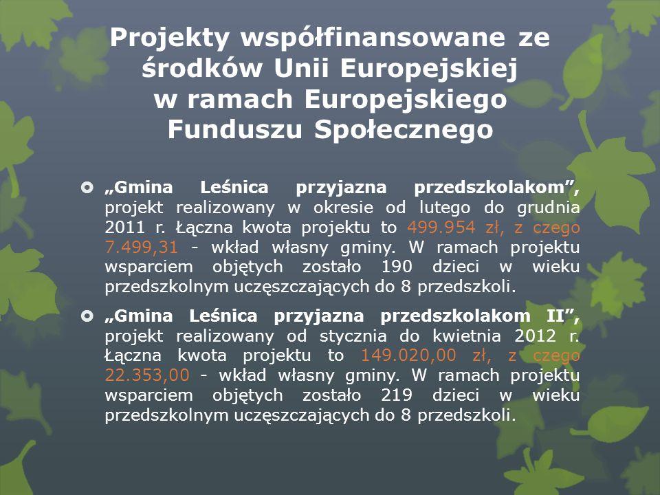 Projekty współfinansowane ze środków Unii Europejskiej w ramach Europejskiego Funduszu Społecznego Gmina Leśnica przyjazna przedszkolakom, projekt realizowany w okresie od lutego do grudnia 2011 r.